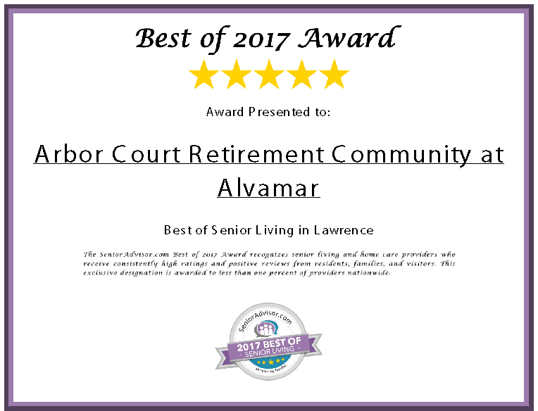 Senior Advisor Award Certificate - The Best of Senior Living in Lawrence for 2017