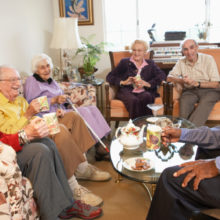 Residents at Arbor Court Lawrence enjoying the amenities